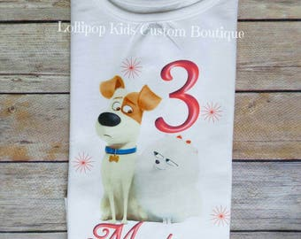 Secret Life of Pets (Max & Gidget) white short sleeve Birthday Shirt*