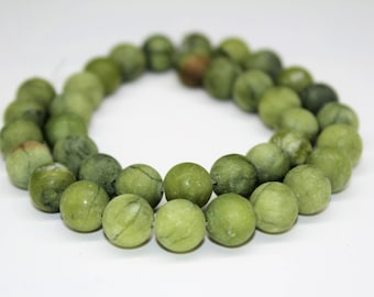Matte Green Jade Gemstone Round Loose beads 6/8/10mm