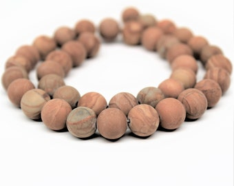 Matte Wood Grain Jasper Gemstone Round Loose beads 6/8/10mm