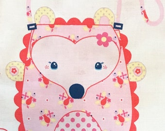 Fabric panel Hedgehog purse pink/hedgehog girls purse/animal purse/melly and me/flower the hedgehog/girls party decor/party fav