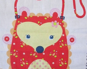 Fabric panel Hedgehog purse red/hedgehog girls purse/animal purse/melly and me/flower the hedgehog/girls party decor/party favo
