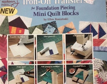 Foundation piecing quilting book/iron-on Transfers/Mini Quilt Blocks/easy to learn/paper piecing/