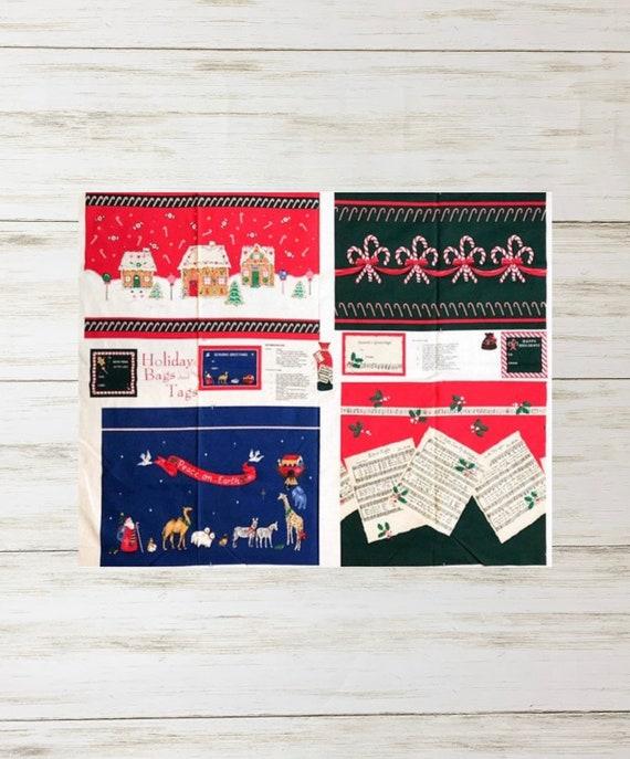 Christmas Gift Bags Diy.Christmas Gift Bags Panel Holiday Fabric Bags Holiday Fabric Tags Pre Printed Fabric Panel Christmas Gift Bag Diy Gift Bag Applique