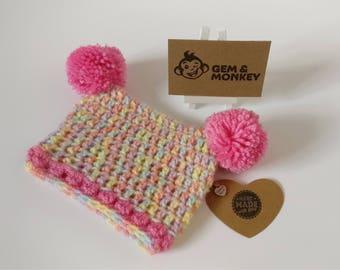 Crochet Baby Pompom Hat - 'Ice Cream' 0-3 Months