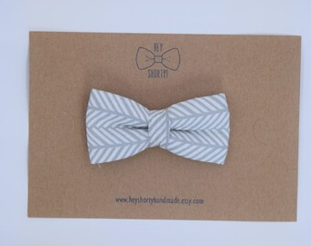 Boy's, Kid's, Toddler, Baby, Gray Herringbone Bow Tie or Girl's Headband