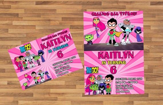 Rosa Adolescente Titanes Go Invitación Usted Imprime Invitación Chica Adolescente Titanes Ir Cumpleaños Teen Titanes Ir Fiesta De Cumpleaños