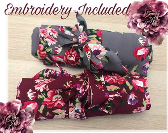NEW COLORS! Grey and burgundy! Wedding robes, bridesmaid robes, bridesmaid gifts, bridesmaid proposal, getting ready robes, cotton floral