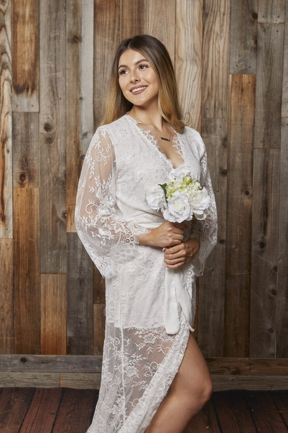 Lace Robe For Bride Wedding Night Lingerie Bride To Be Gift Etsy