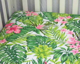 Organic Dragon Fruit Change Pad Baby Girl Bedding Flowers Crib Sheet Mint Dragon Fruit Baby Bedding Tropical Nursery Dragon Fruit