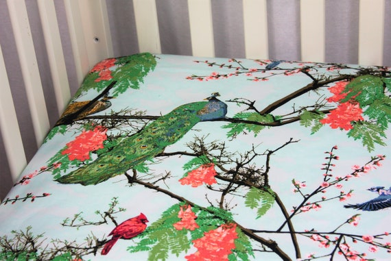 Cotton Fitted Crib Sheet or Toddler Sheet Set Peacock Play