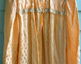 5e2c3cb06 30 s peignoir robe peach silk robe lace trim vintage antique satin brocade  leaf Small pin-up boudoir dress