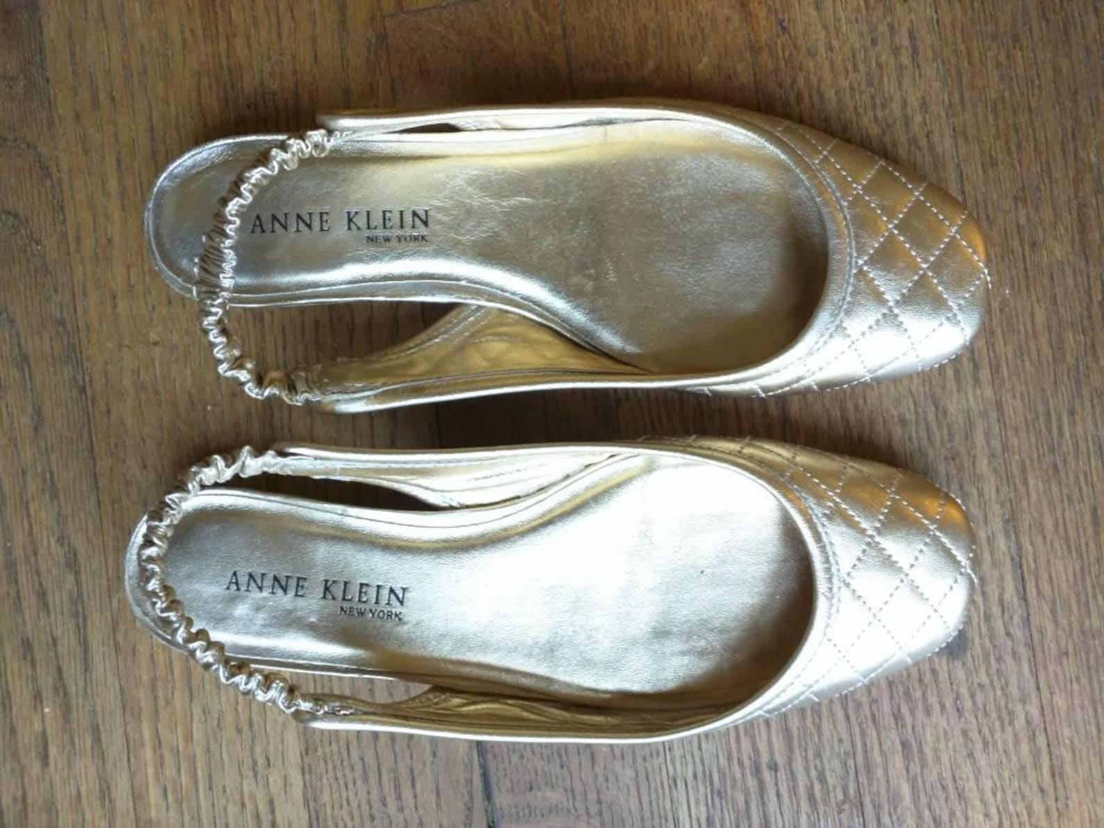 anne klein quilted leather gold ballet flats size 7 preppie nineties classic sling back
