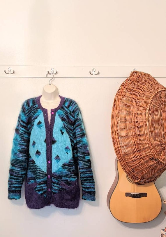 Mohair hand knit XL teal purple cardigan pockets 8