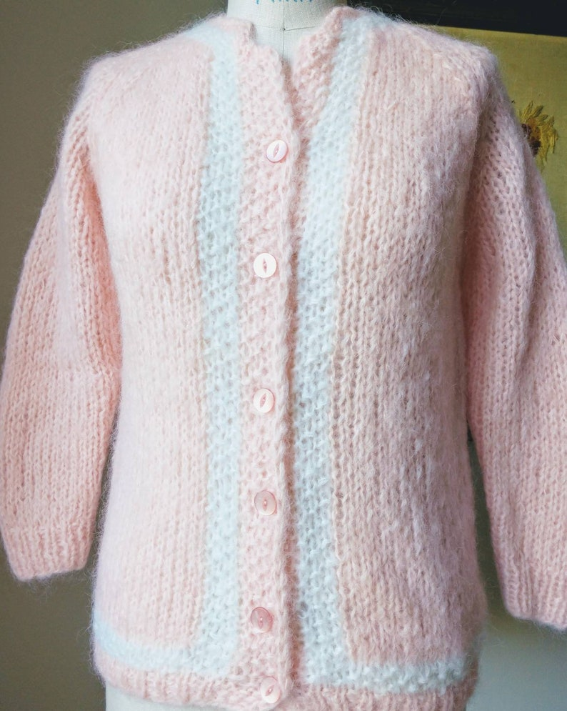 3ea05ea861b56 XS S mohair hand-knit 50 s sweater pin-up pink white