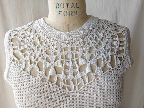 Crochet cotton top sweater vest white cropped sma… - image 7