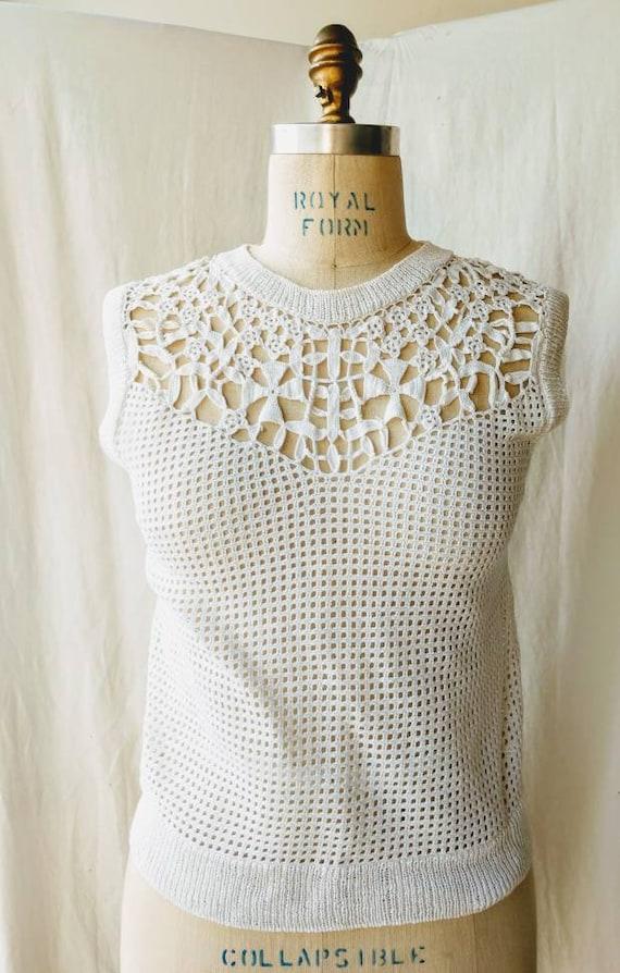 Crochet cotton top sweater vest white cropped sma… - image 1