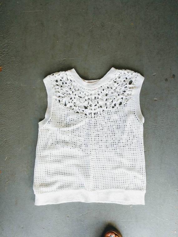 Crochet cotton top sweater vest white cropped sma… - image 4