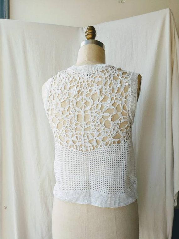 Crochet cotton top sweater vest white cropped sma… - image 3