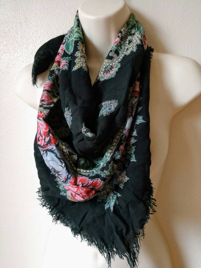 3e336f73529 Rayon gypsy scarf navy fringed 29 x 29 inches foulard Russian hippie boho  traditional soft floral