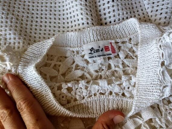 Crochet cotton top sweater vest white cropped sma… - image 2