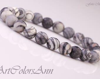 Simple bracelet  JASPER  vein / striped  8 mm