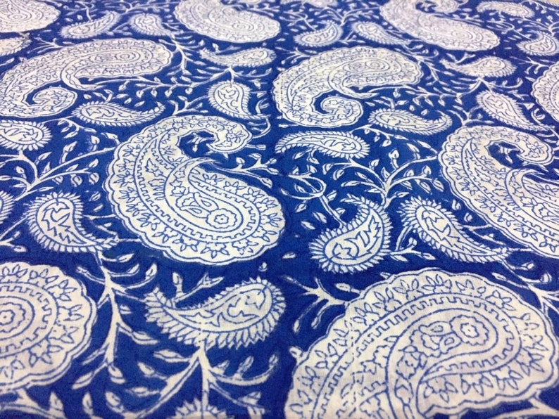 2.5 Yard Indian Hand Block New Print Blue Paisley Hand Made Craft Sewing Fabric