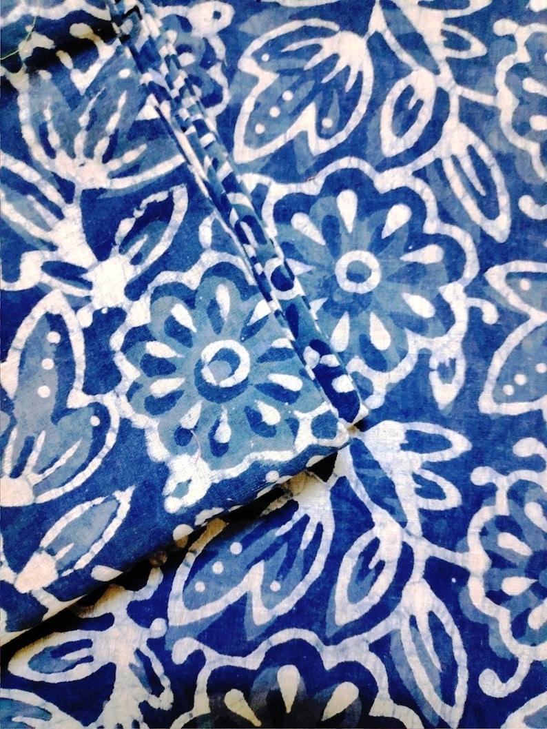 2.5 Yard Indian Cotton Floral Hand Block Printed Fabric Running Fabric Natural