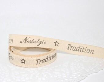 Ribbon grosgrain, stamped Ribbon, gift wrapping, craft Ribbon, Tradition, nostalgia, Star, ecru, black, sewing, scrapbooking, x 1 m