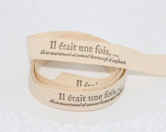 Ribbon, grosgrain Ribbon hand stamped, once upon a time, they married and had many children, wedding, scrapbooking, packaging, x 1 m