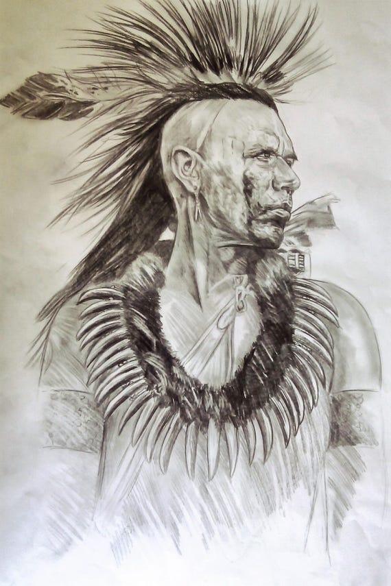 Retrato De Indio Nativo Americano Dibujo A Formato Post Lápiz Etsy