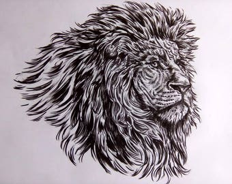 LION with pencils on a3 paper