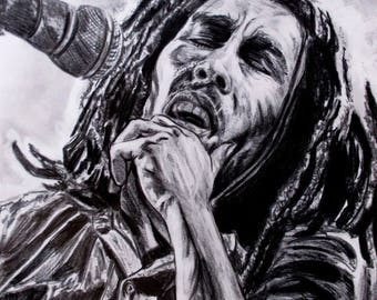 Bob marley with pencils on a3 paper
