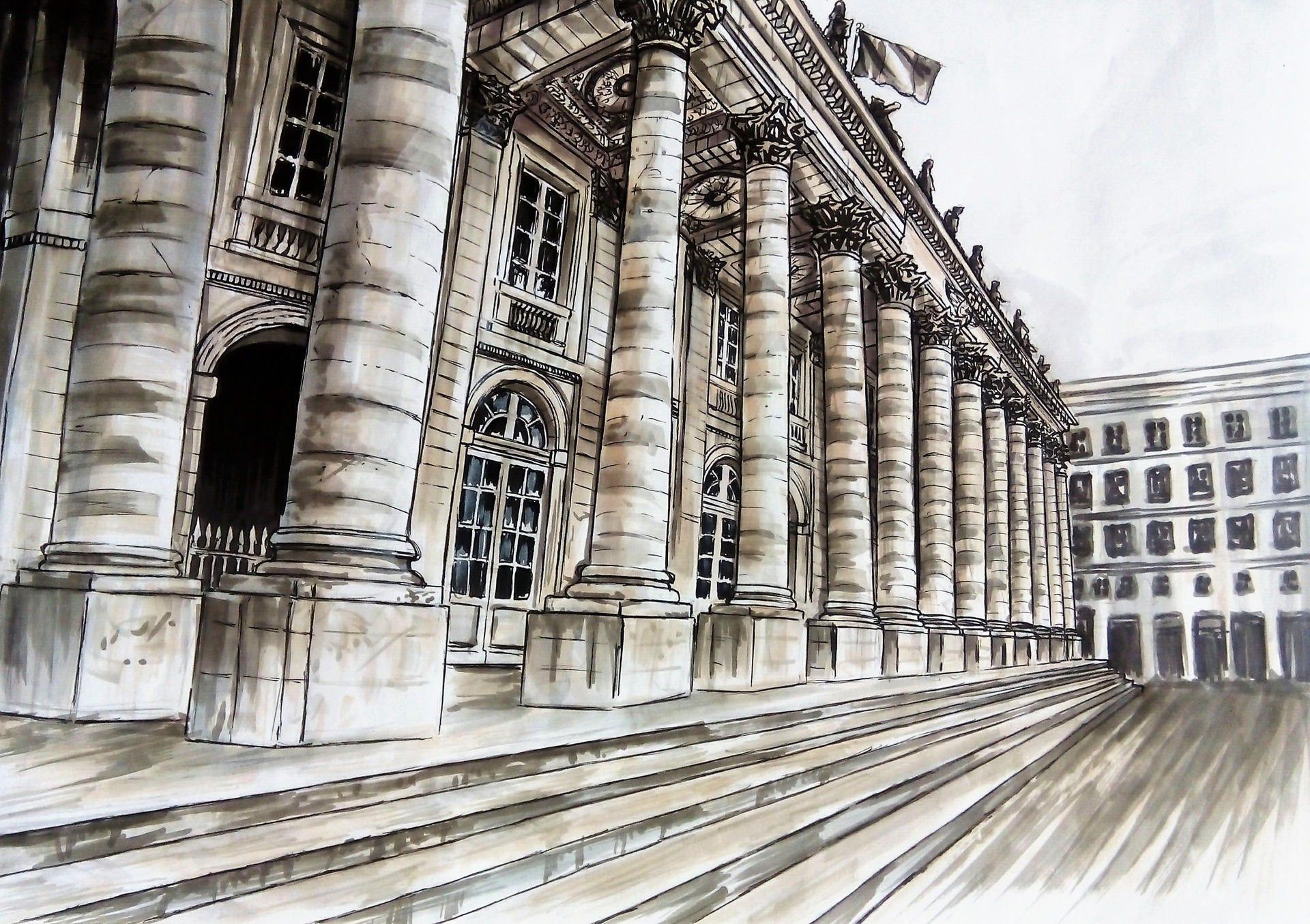 Grand theatre de bordeaux dessin aux feutres plus encre - Dessin de theatre ...