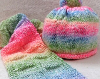 Rainbow child's hat and scarf