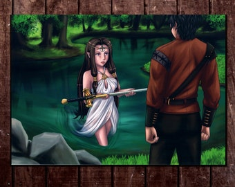 8x10 archival PRINT LADY OF THE LAKE fantasy warrior water medieval sword