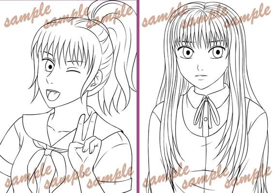 Coloriage Pour Fille A Imprimer Pdf.Filles Manga Livret De Coloriage Pdf Pret A Imprimer