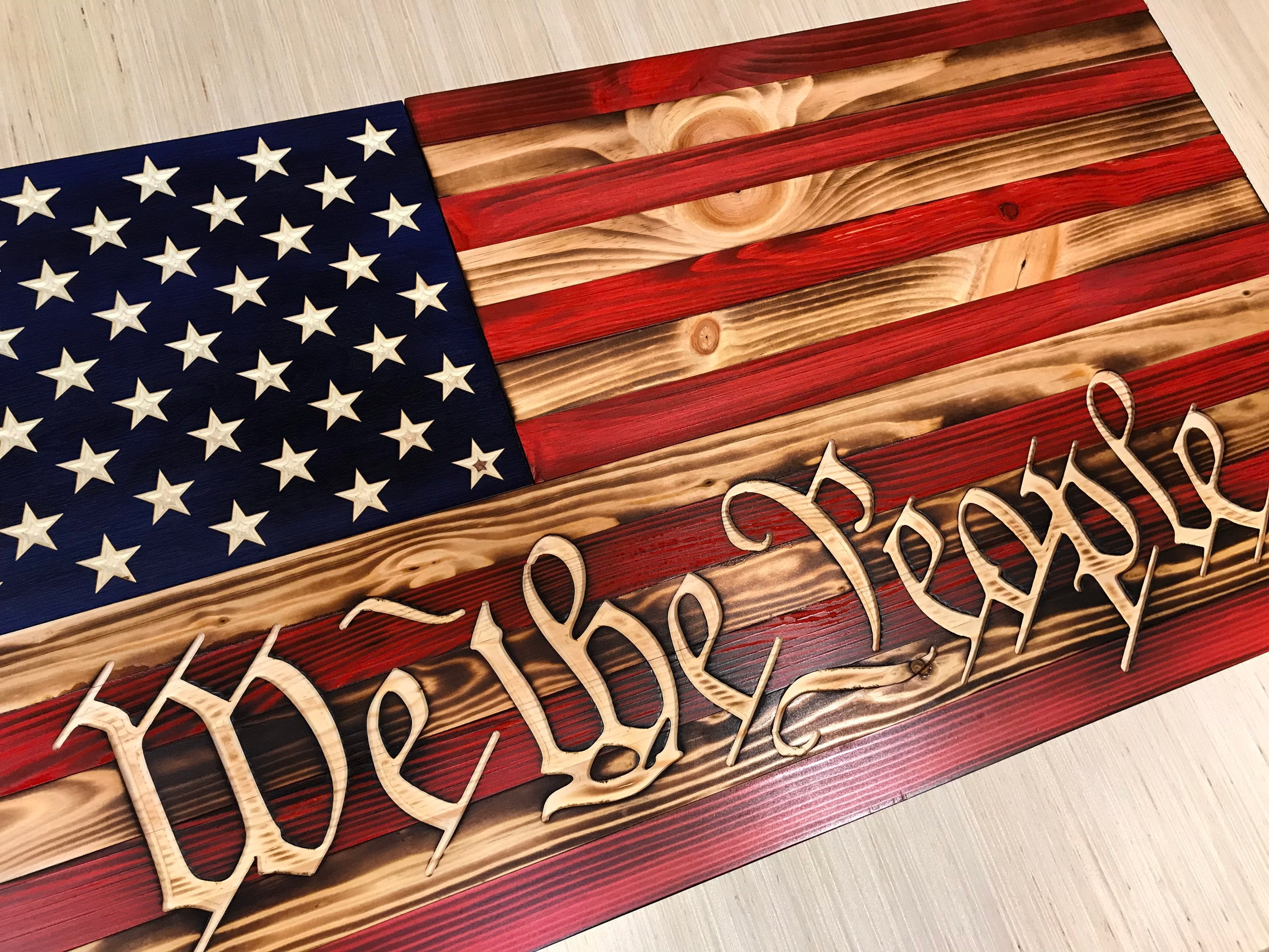 We the people wooden flag