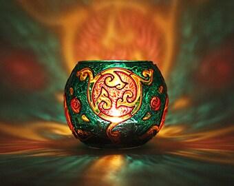 Celtic Candle Holder / Candleholder Glass / Glass Votive / Votive Candle Holder / Tealight Candle Holder / Emerald / Meditation Gift