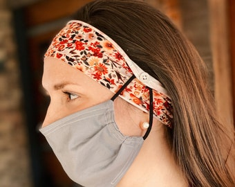 Vintage Floral Button Face Mask Headband - *MASK NOT INCLUDED*