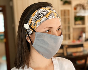 Yellow and Black Floral Button Face Mask Headband - *MASK NOT INCLUDED*