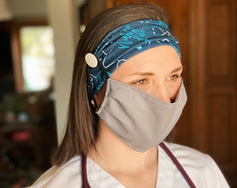 Nurse Life Button Face Mask Headband - *MASK NOT INCLUDED*