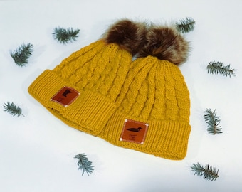 Mustard Winter Beanie with Minnesota or Loon Leather Patch