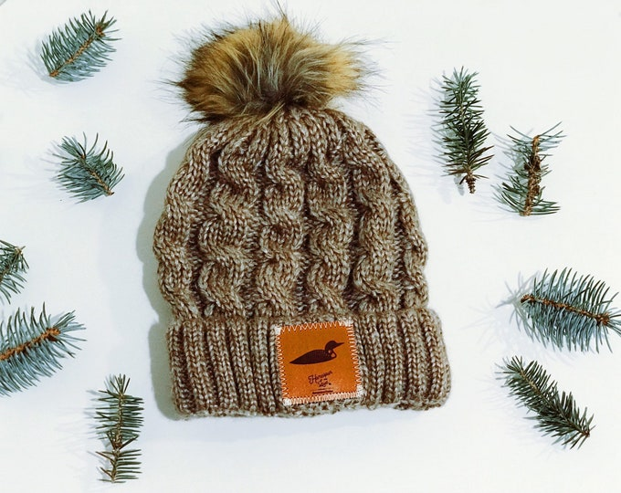 Featured listing image: Oatmeal Winter Beanie with Minnesota Loon Leather Patch