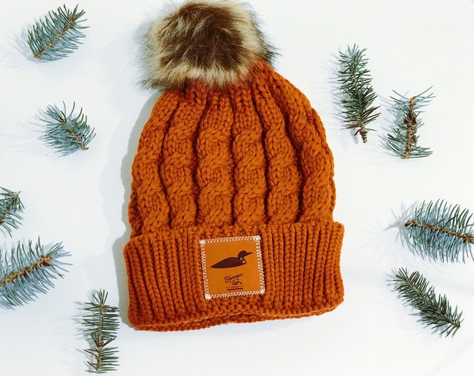 Featured listing image: Burnt Orange Winter Beanie with Minnesota Loon Leather Patch