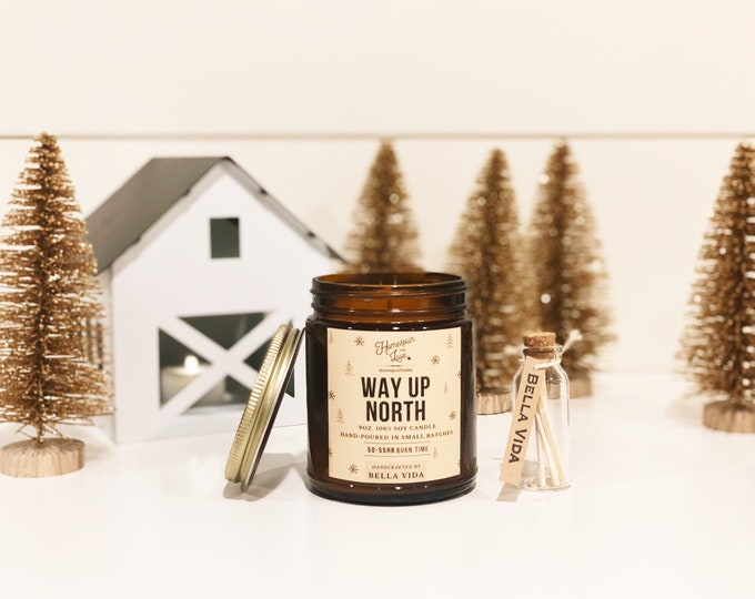 Featured listing image: Way Up North Candle | Soy Candle | Christmas Gift | Evergreen | Vanilla | Nugmeg