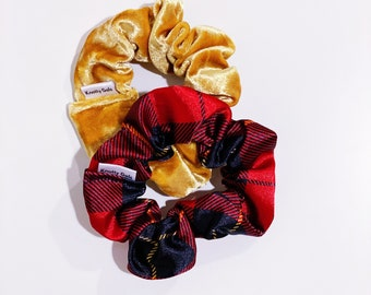 Knotty Gal Scrunchy Golden Plaid Combo - Cindy Lou and Brooke