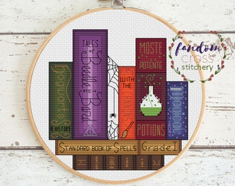 Hogwarts Bookshelf Cross Stitch PDF Pattern | Instant Digital Download | Harry Potter Cross Stitch Pattern