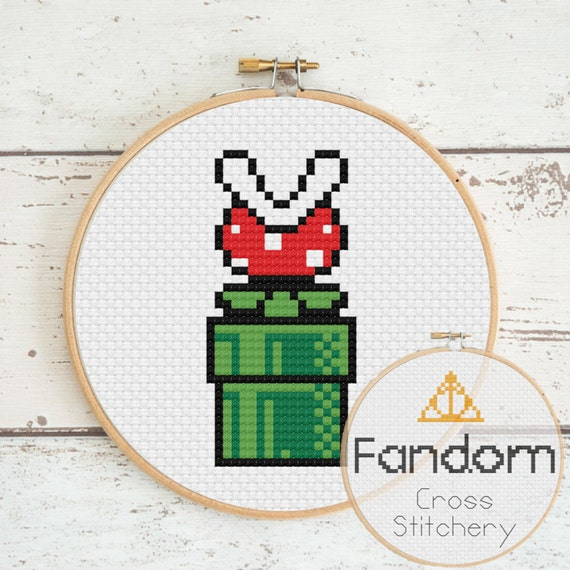 Mario Piranha Plant Cross Stitch Pdf Pattern Instant Digital Download Geek Cross Stitch Pattern Super Mario Cross Stitch Pattern