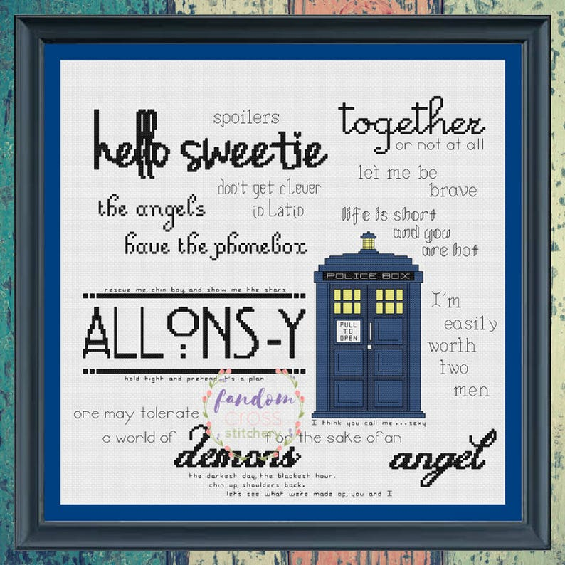Tardis Sampler Cross Stitch Pdf Pattern Cross Stitch Sampler Etsy