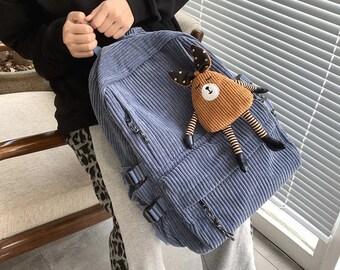 Corduroy Backpack, Women's Backpack, Backpack Girl, Corduroy Rucksack, Backpack, Corduroy Bag, Backpack School, Backpack For School, Bags